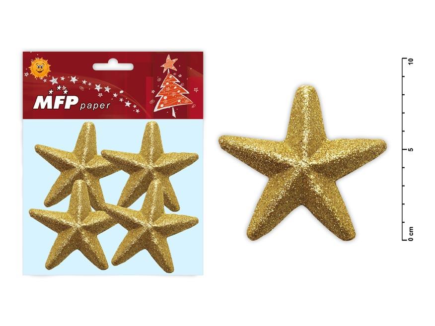 Hviezda 8,5cm zlatá s glitrom