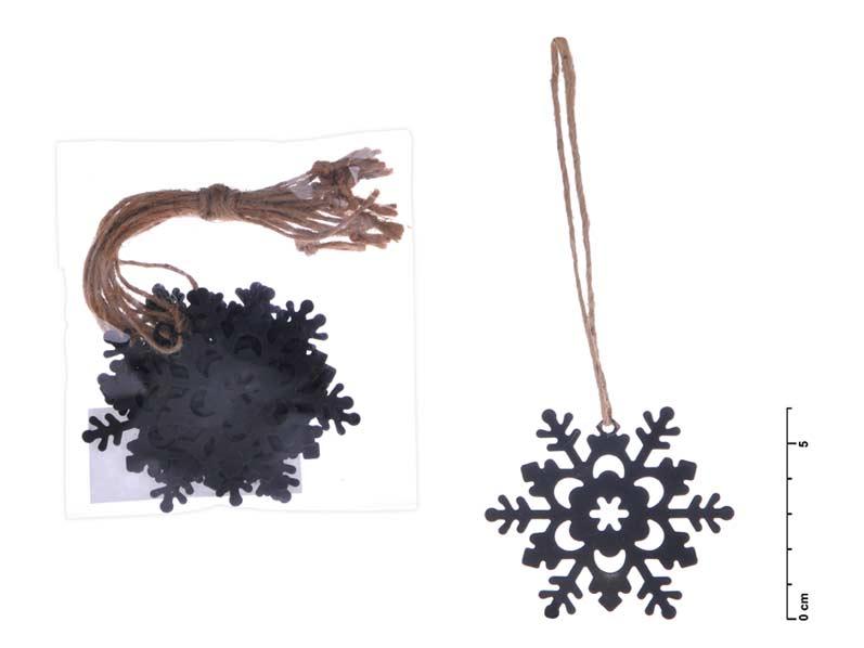 Vločka záves kov čierny mat 6cm