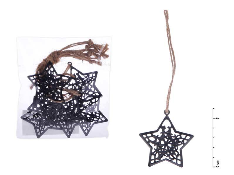 Hviezda záves kov čierny mat 6cm