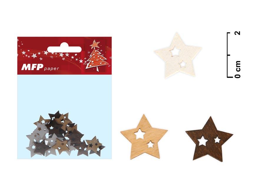 Dekorácia hviezda 24ks 2cm mix
