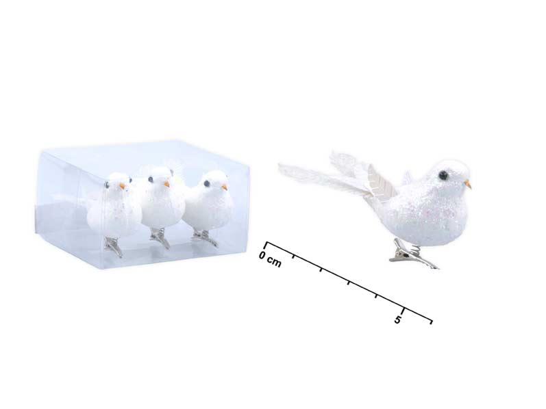 Vtáčik 6cm/3ks klip s glitrom