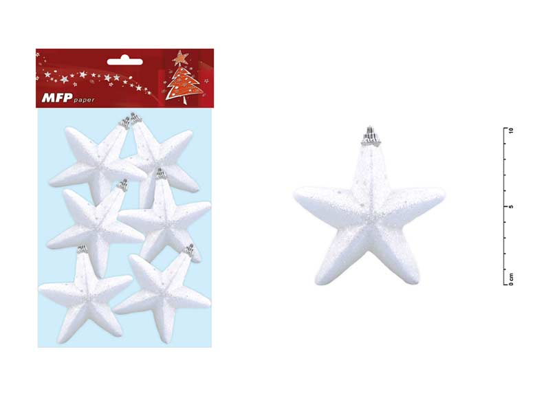 hviezda 10cm/6ks s glitrom 8885482