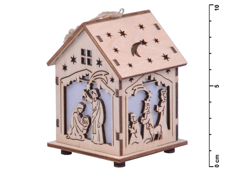 Svietnik domček drevený 8x7x9cm LMX- 5396Y