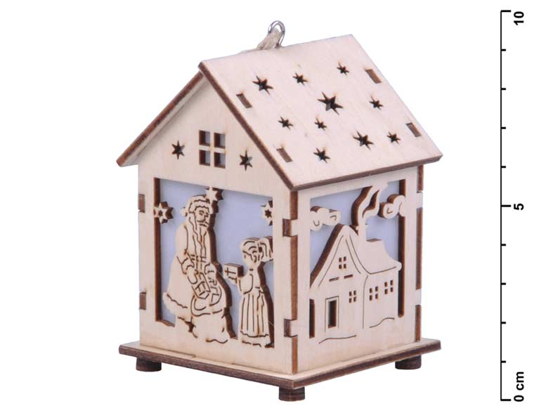Svietnik domček drevený 8x7x9cm LMX- 5397Y