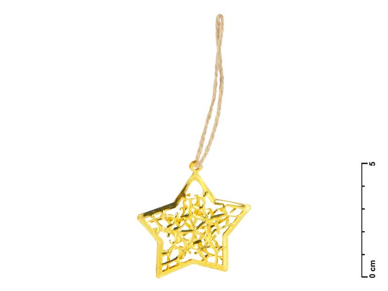 Hviezda kov zlatá 3D 4,5cm - záves