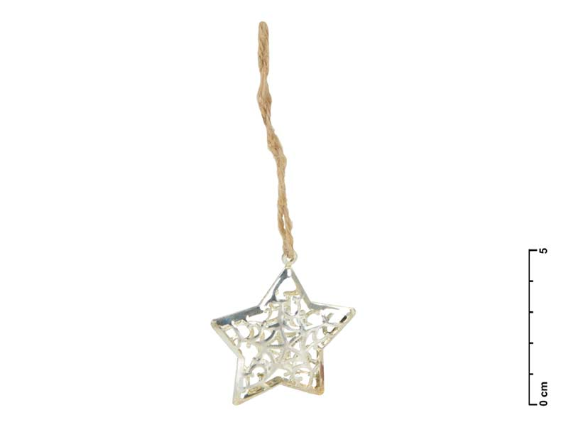 Hviezda kov strieborná 3D 4,5cm - záves