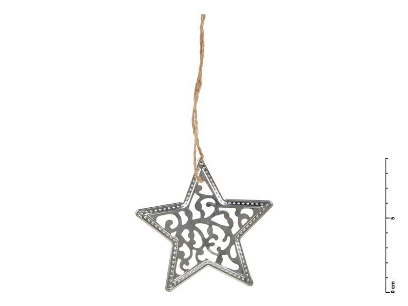 Hviezda kov strieborná 9 cm - záves