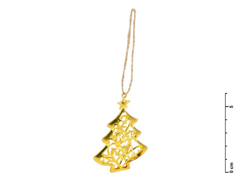 Stromček kov 3D zlatý 6cm - záves