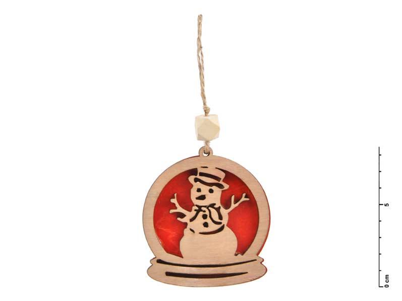Záves drevo snehuliak 7,5cm - červený