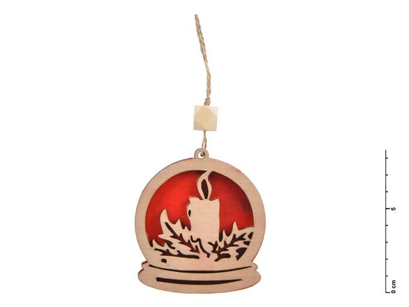 Záves drevo sviečka 7,5cm - červený