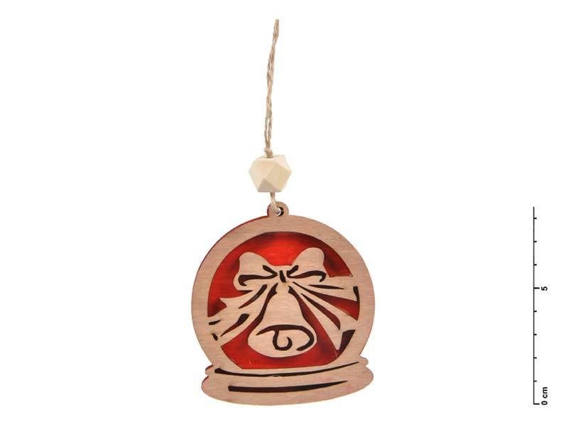 Záves drevo zvonček 7,5cm - červený