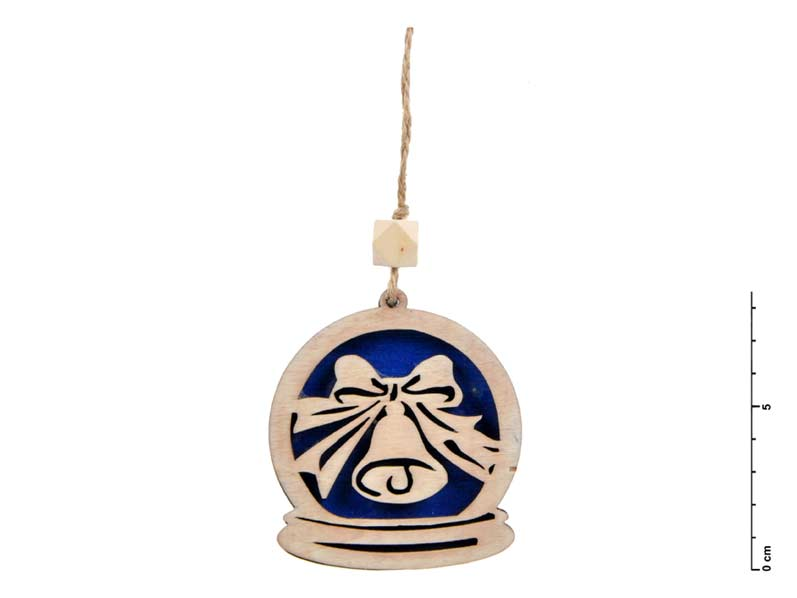Záves drevo zvonček 7,5cm - modrý