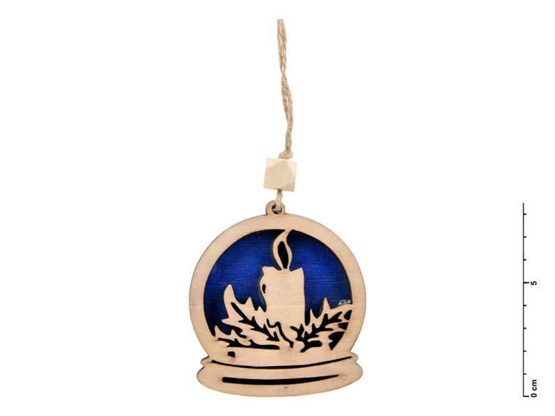 Záves drevo sviečka 7,5cm - modrý