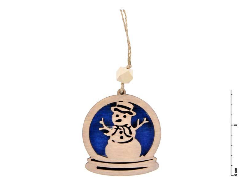 záves drevo snehuliak 7,5cm - modrý 8885555