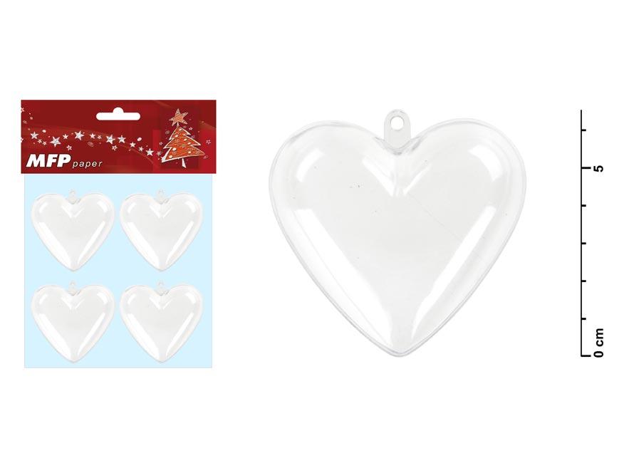 Srdce transparentné set 6,5x6x3,6cm/4ks