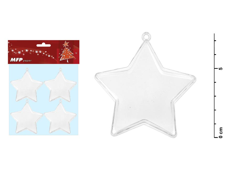 Hviezda transparentná set 7,5x3,7cm/4ks