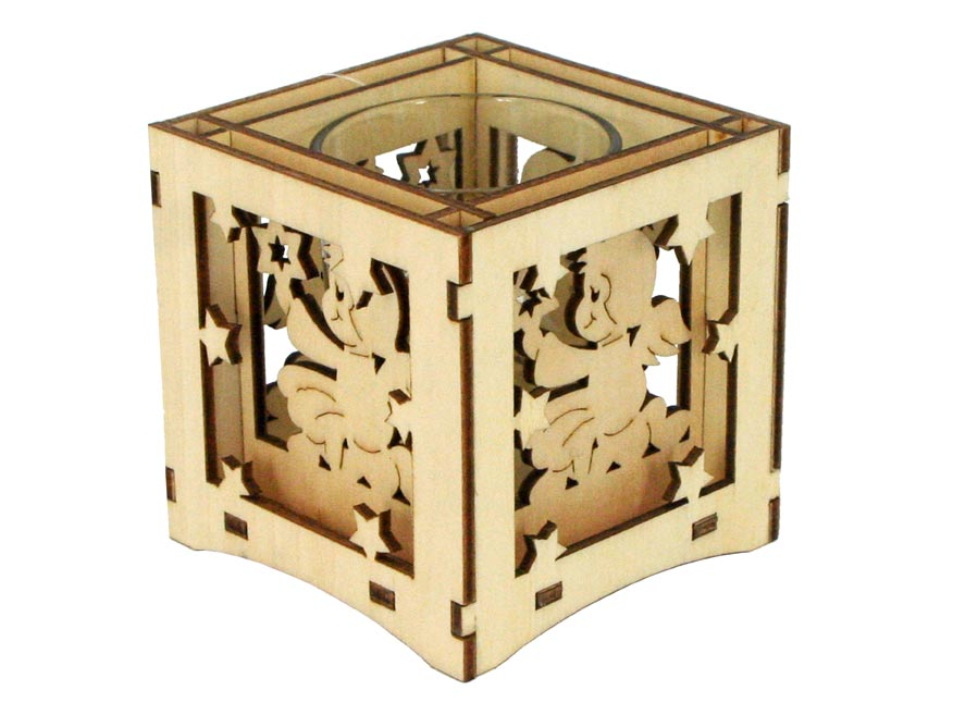 Svietnik drevený 8x8x8cm LMX- 9336