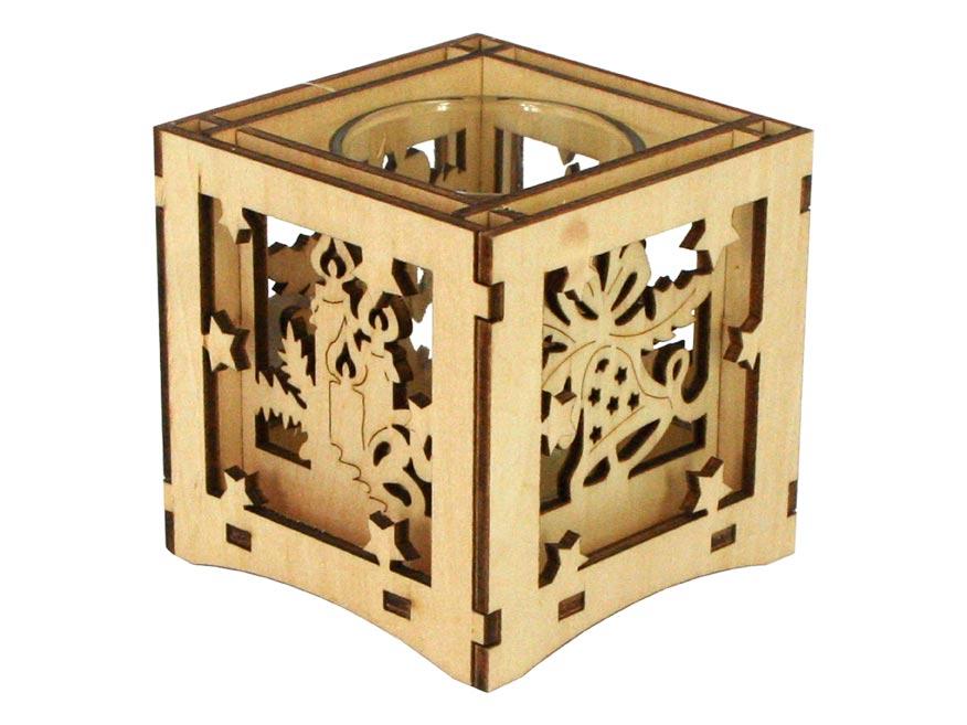 svietnik drevený 8x8x8cm LMX- 9341 8885585
