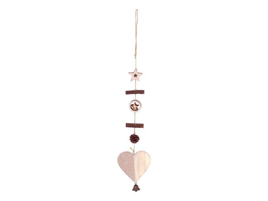 Srdce záves drevené 8,3x8,3/45cm HW- 54707C