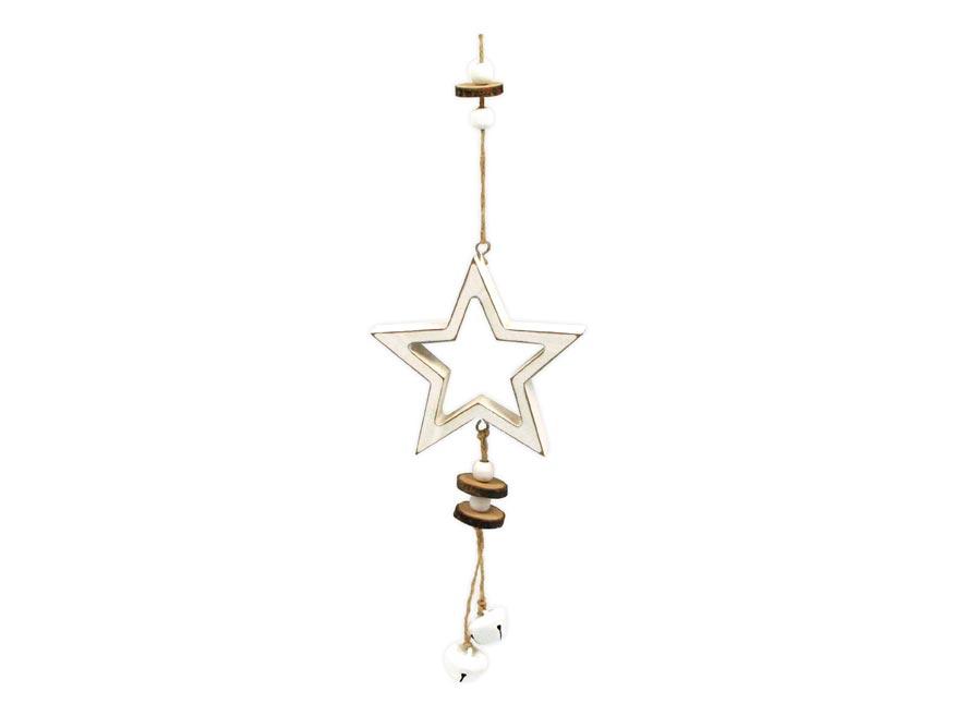 Hviezda záves drevená 11,5x11/37cm HW- 54830A