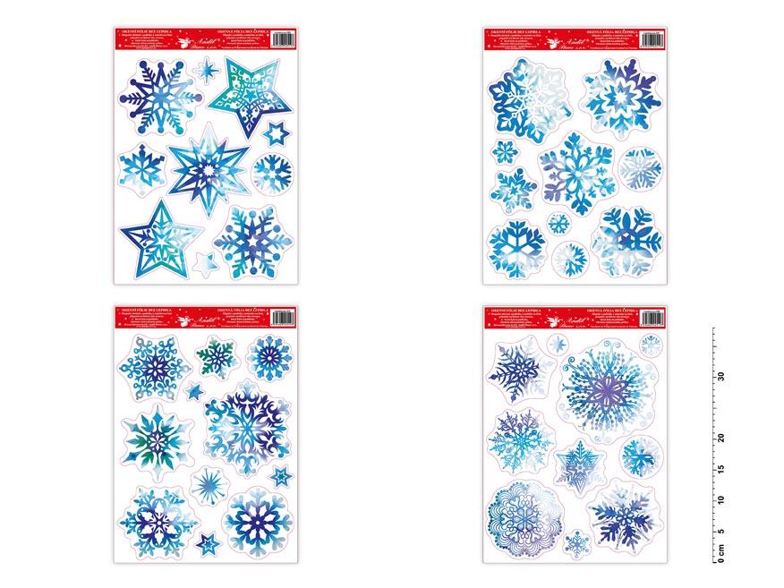 Fólia okenná 211 vločky a hviezdy modré s glitrami 38x30 cm