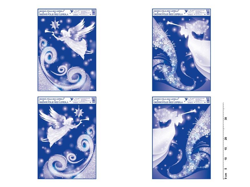 Fólia okenná 488 rohová s glitrom anjel 38x30 cm