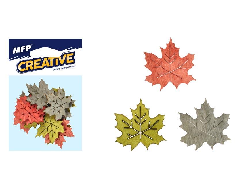 Dekorácia list farebný javor 12ks 4cm mix