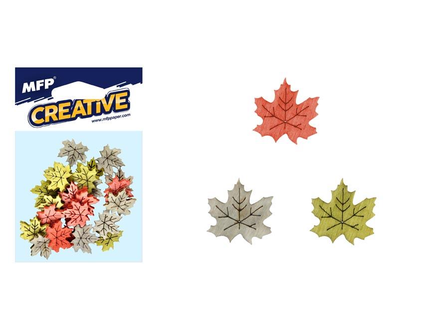 Dekorácia list javor 24ks 2cm mix