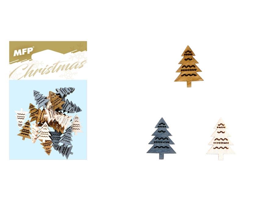 dekorácia stromček 24ks 2cm mix 8885680