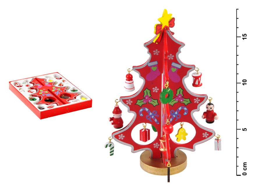 Stromček drevený červený 18cm HY- 6046R