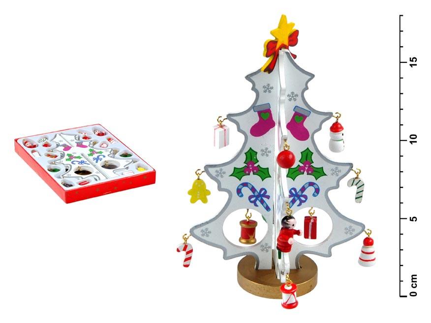 stromček drevený biely 18cm HY- 6046W 8885695