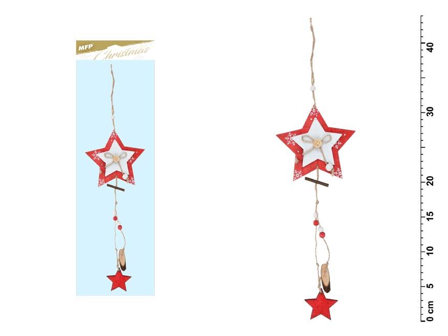 Hviezda záves červená 44x12cm JK- 6067A