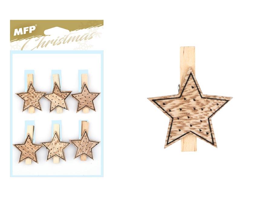 štipec drevený hviezdička 6ks 4cm ZC171179 8885704