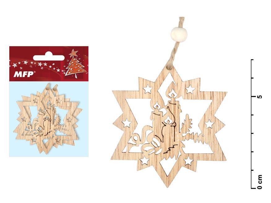 Hviezda drevená set 2ks 7cm ZC171276