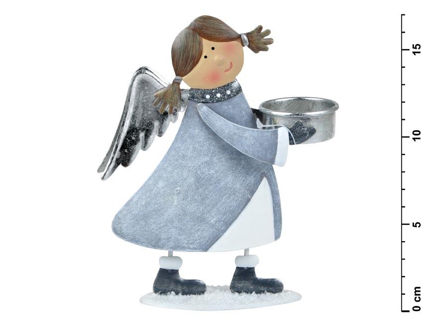 Anjel plechový svietnik 16,5 cm