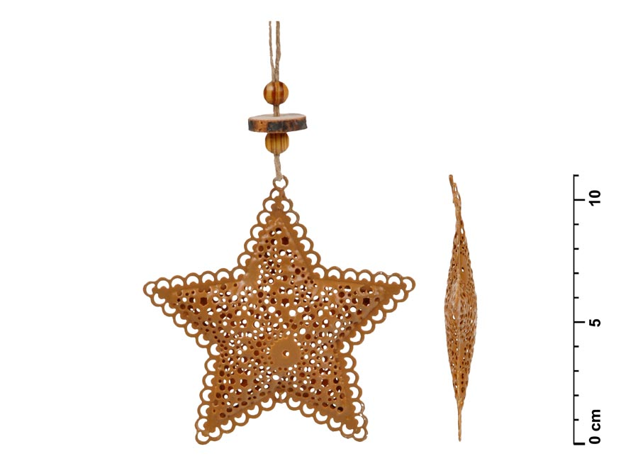 Hviezda záves plech hnedá 8,5cm