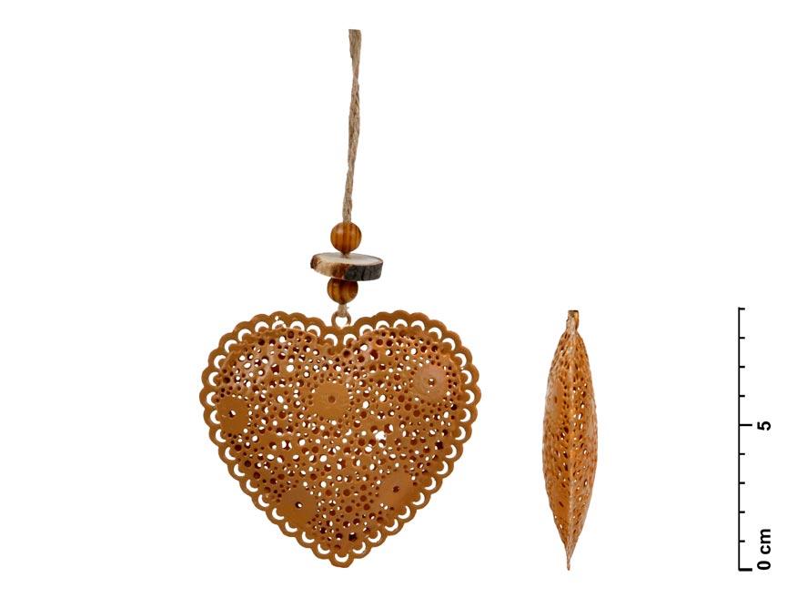 Srdce záves plech hnedá 8,5cm