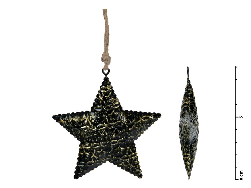 Hviezda záves plech čierny 8,5cm
