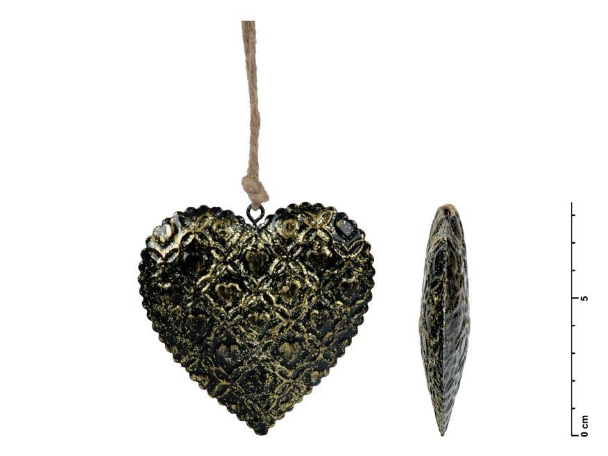 Srdce záves plech čierny 8,5cm