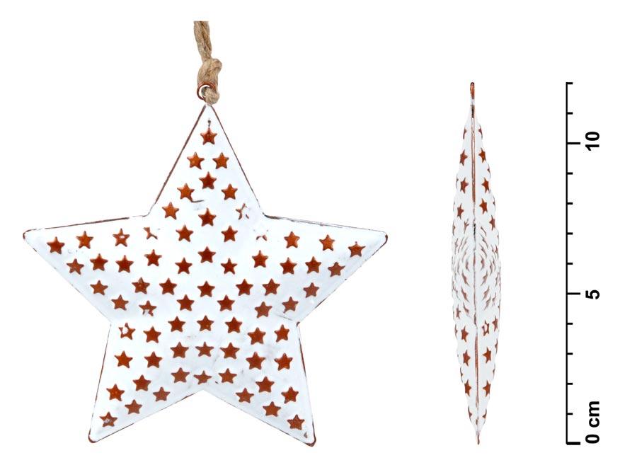 Hviezda záves plech biely hviezdičky 12cm