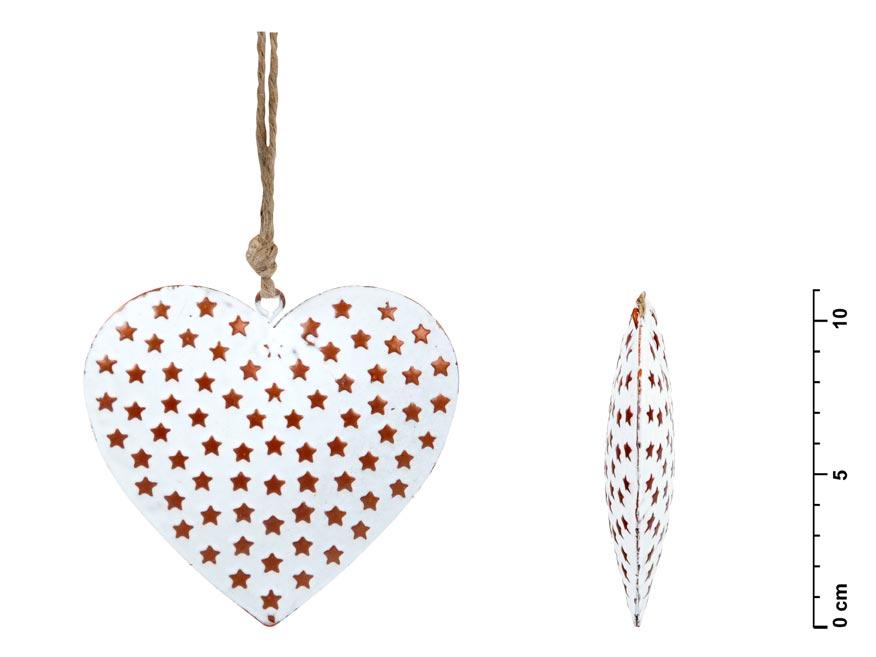 Srdce záves plech biely hviezdičky 11cm