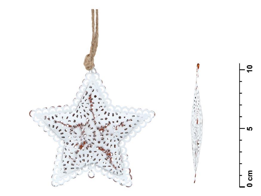Hviezda záves plech biely čipka 10,5cm