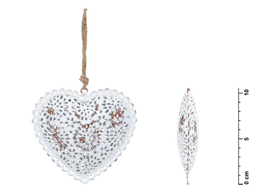 Srdce záves plech biely čipka 10,5cm