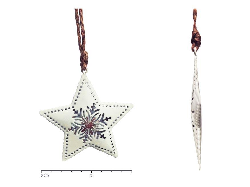 Hviezda záves plech biely vločka 8cm