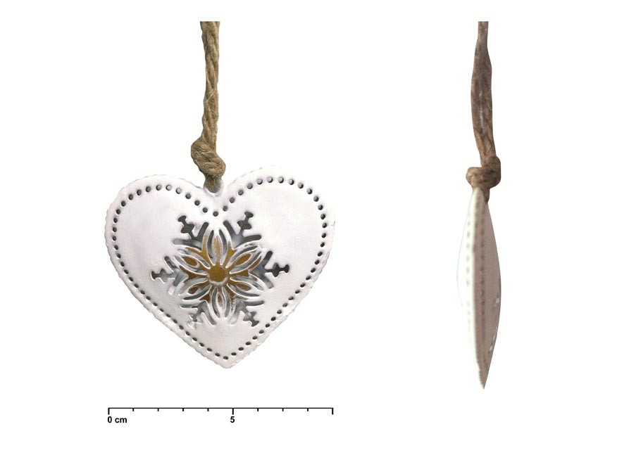 Srdce záves plech biely vločka 8cm