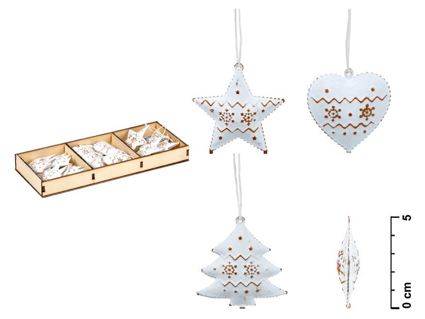 Set záves 12ks plech biely ornament 5cm