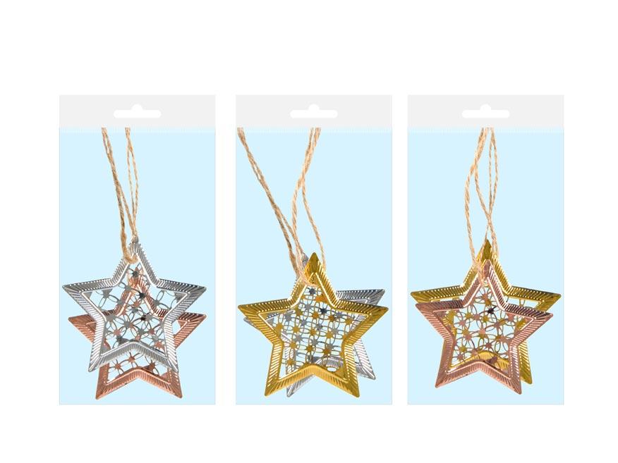 Hviezda kov MIX 7 cm - záves 2 ks
