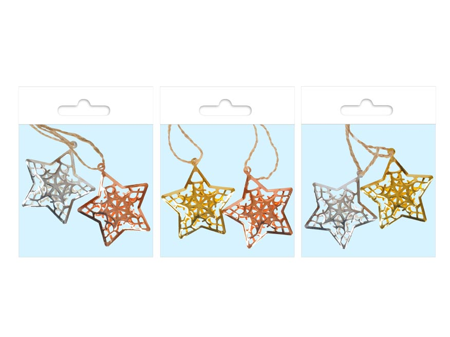 MFP 8885757 Hviezda kov 3D MIX 4,5cm - záves 2 ks