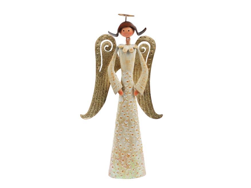 Anjel plech 37cm - zlatý