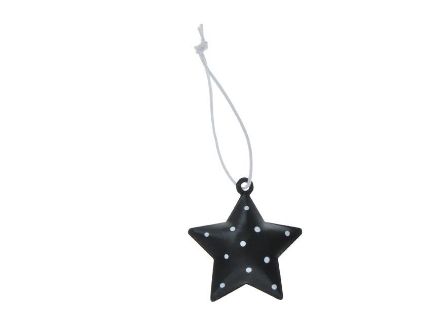 hviezda 3ks plech 4,5cm so závesom - čierny 8885826